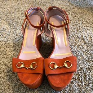 Gucci Burnt Orange Platform Wedges